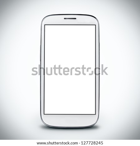 smartphone on a light background.  Empty screen - stock photo