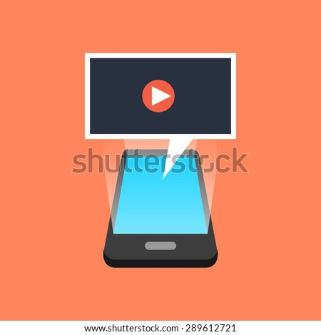 Smartphone playing video concept. Isometric design. - stock photo