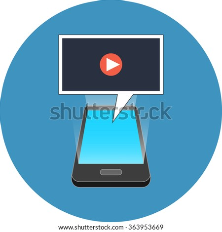 Smartphone playing video concept. Isometric design. Icon in blue circle on white background. - stock photo