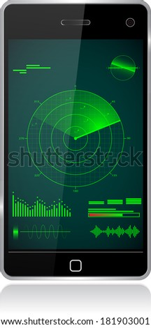 smartphone radar   - stock photo