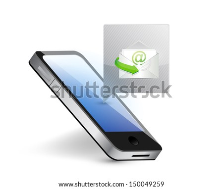 smartphone receiving mail illustration design over white