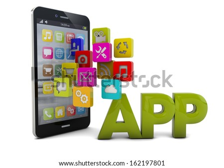 smartphone render with apps and the word app