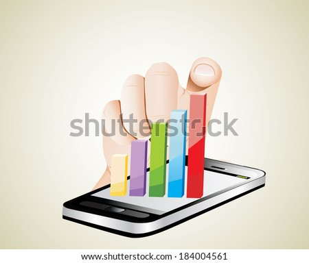 Smartphone screen with graph and a hand. - stock photo
