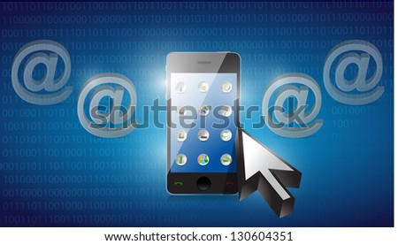 smartphone selected on a blue binary background illustration design - stock photo