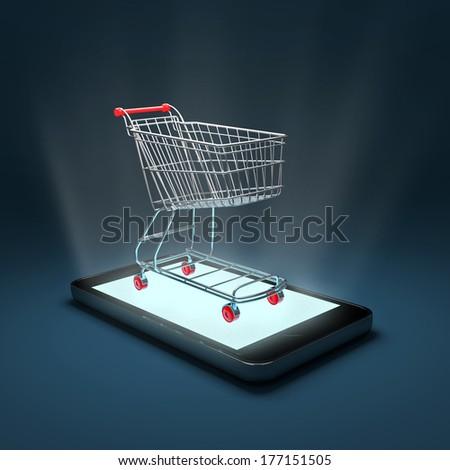 Smartphone shopping - stock photo