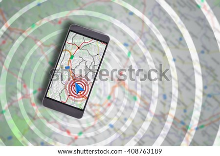 Smartphone showing on the screen an assistant GPS navigation with cartography background and waves - stock photo