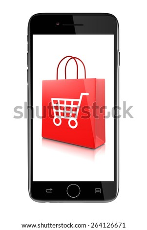 Smartphone Showing Shopping Bags with Shopping Cart Symbol Isolated on White Background Illustration, Online Discount Concept - stock photo