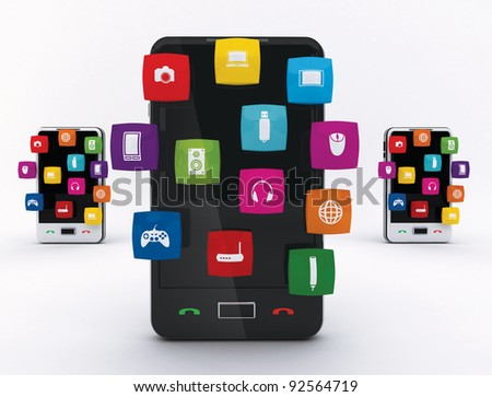 Smartphone Touchscreen smartphone  with application icons from the screen, isolated on a white background. - stock photo
