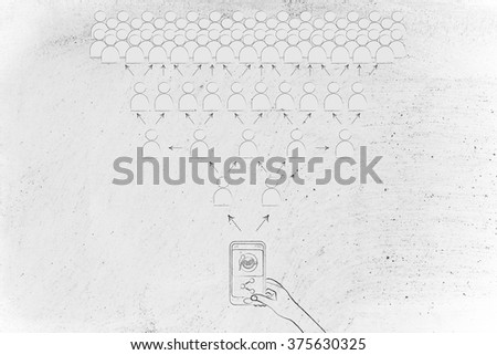 smartphone user sharing an image to go viral - stock photo
