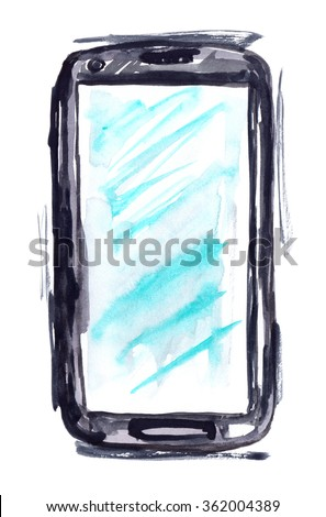 Smartphone with a blank screen painted in watercolor on white isolated background - stock photo