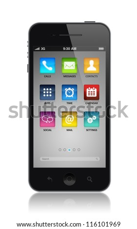 Smartphone with applications icons on a start screen illustration. Isolated on white. High quality very detailed realistic object.