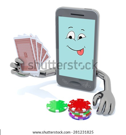 smartphone with arms and legs been playing poker, 3d illustration - stock photo