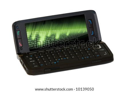 Smartphone with binary code on display - stock photo