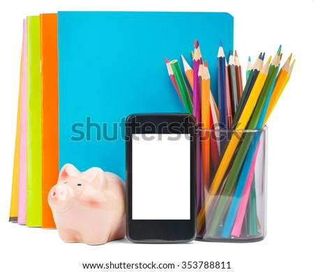 Smartphone with blank screen and stationery on isolated white background