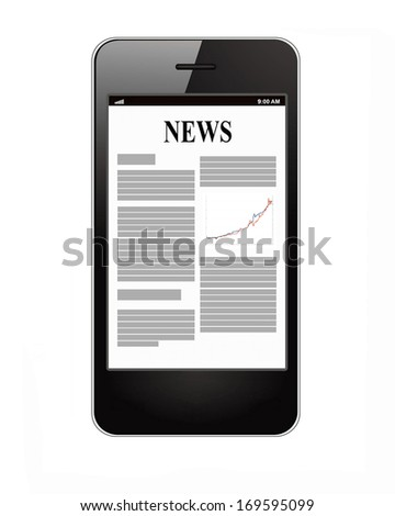 Smartphone with business news on display - stock photo
