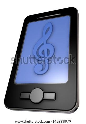 smartphone with clef on display - 3d illustration - stock photo