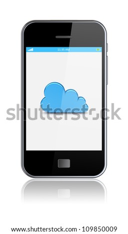 Smartphone with cloud computing symbol on a screen. 3d image