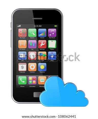 Smartphone with colorful apps and cloud computing symbol. 3d image