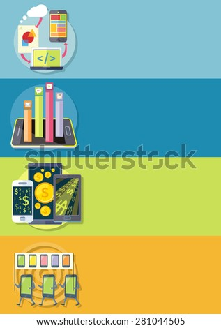 Smartphone with columns rated mobile applications. Top Apps mobile applications. Smartphones demonstration with placards and slogan. Dollar money phone.  Mobile application development. Raster version - stock photo