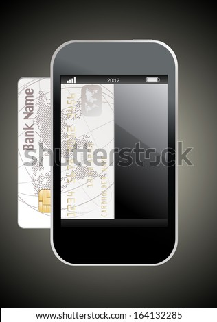 smartphone with credit card, concept digital payment - stock photo
