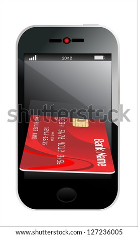 smartphone with credit card, concept digital payment, 3d illustration - stock photo