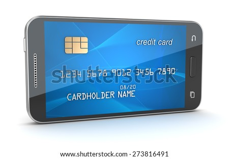 Smartphone with creditcard screen. 3d render and computer generated image. isolated on white. - stock photo