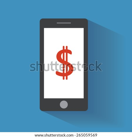 Smartphone with dollar sign on the screen. Using mobile smart phone, flat design concept - stock photo