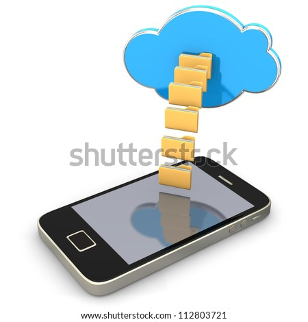 Smartphone with folders an cloud on the white background. - stock photo