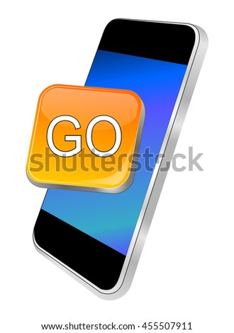 Smartphone with Go button - 3D illustration - stock photo