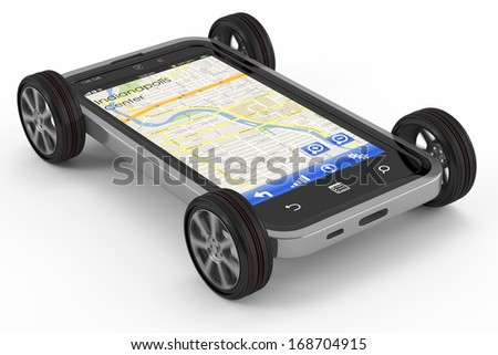 Smartphone with GPS navigation - stock photo