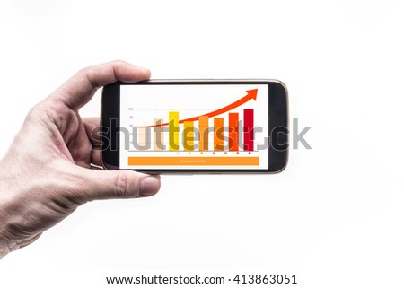 Smartphone with graph of Financial growth and arrow on screen in man's hand - stock photo