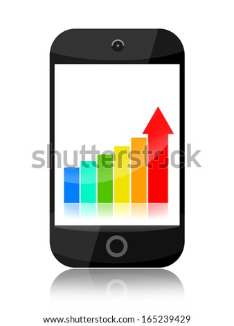 Smartphone with growing business stats isolated on white background - stock photo