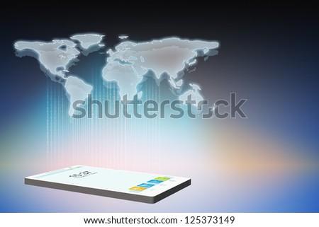 Smartphone with hologram worldmap - stock photo