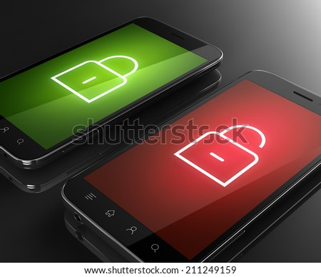 Smartphone with lock icon - security concept locked and unlocked - stock photo