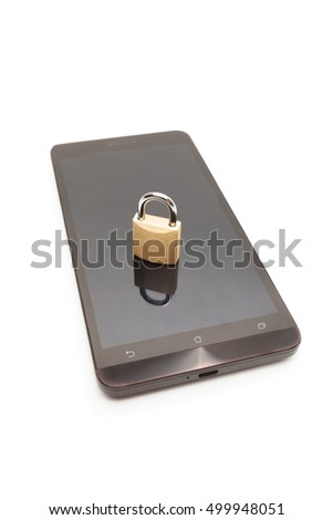 Smartphone with lock on it - mobile phone security and data protection concept