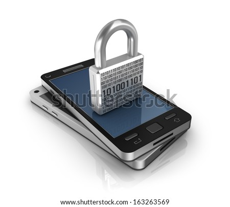 Smartphone with lock. Security concept - stock photo