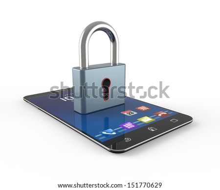 Smartphone with lock symbol. Security technology concept. - stock photo