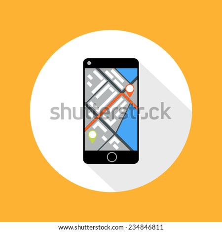 Smartphone with map of imaginary city with GPS icon and pin template of navigation system. Raster version - stock photo
