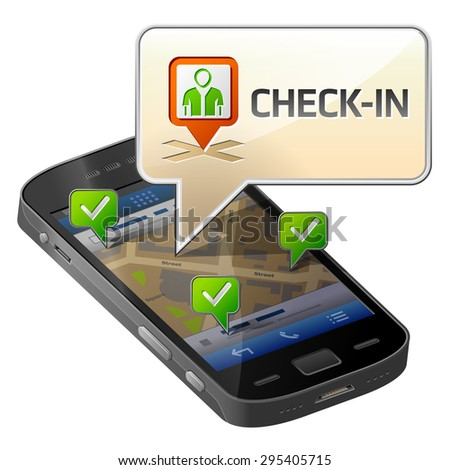 Smartphone with message bubble about check-in. Dialog box pop up over screen of phone. Qualitative illustration about smartphone, check-in, mobile technology, social networking, gps location, etc - stock photo