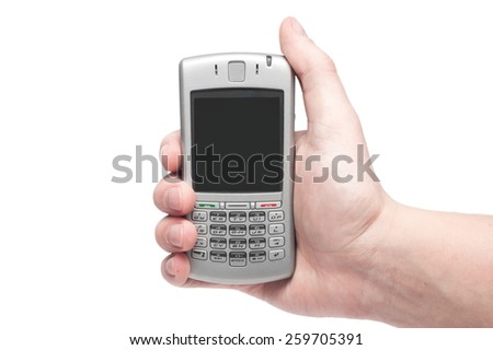 smartphone with qwerty keyboard in hand isolated on white background