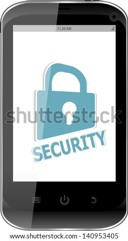 smartphone with security lock on display. Generic mobile smart phone, raster - stock photo