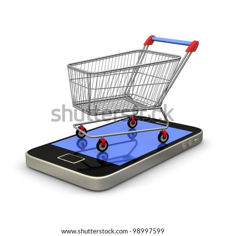 Smartphone with shopping cart on white background.
