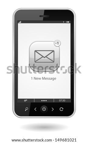 smartphone with sms icon - stock photo