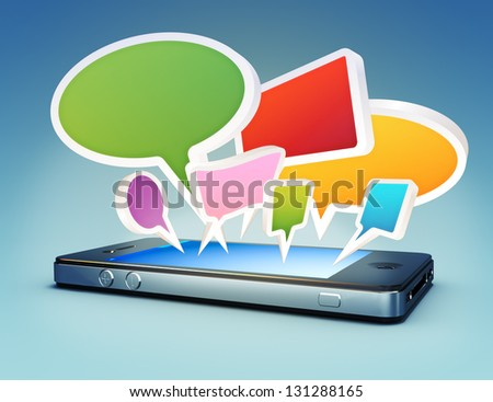 Smartphone with social media chat bubbles or speech bubbles extruding from the screen. - stock photo