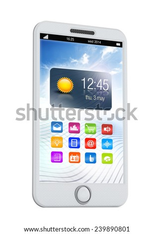 Smartphone with various application software on the screen.