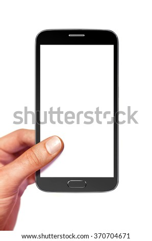smartphone with white screen for design in hand - stock photo