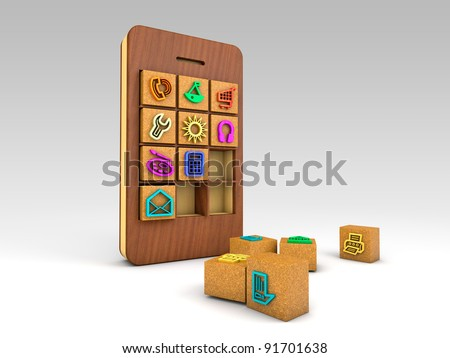 smartphone with wood's cubes of colorful application icons - stock photo