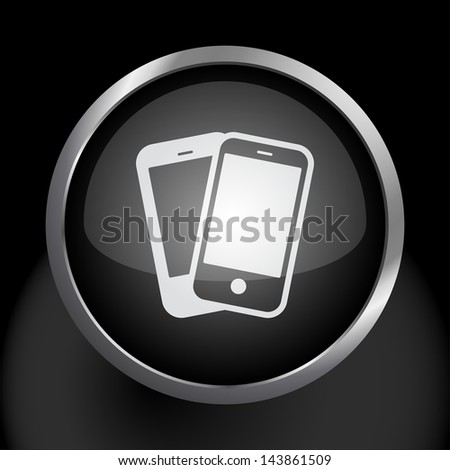 Smartphones Icon Symbol - Raster Version, Vector Also Available. - stock photo