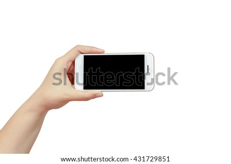 Smartphones in women hand with blank black screen isolated on white background