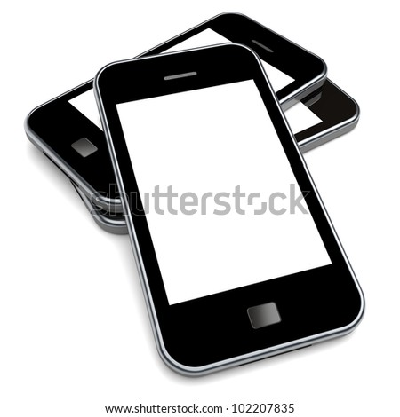 Smartphones with a blank screen on a white background. 3d image - stock photo